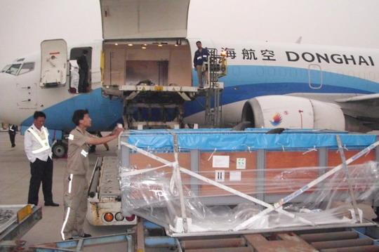民航资源网2011年6月1日消息:5月30日下午17点50分,深圳东海航空有限公司(Shenzhen Donghai Airlines Co., Ltd.,简称东海航空)J56222货包机载着8只海豚抵达青岛流亭国际机场(简称青岛机场),机场货运工作人员精心准备,有序实施,顺利完成了此次保障任务,获得了航空公司好评。   东海航空此次执飞的是大阪青岛北京航段任务,8只海豚由大阪运达青岛后,卸机后由代理人现场提取货物,用过的集装板需现场打板运至北京。接到信息通报后,机场货运部工作人员精心准