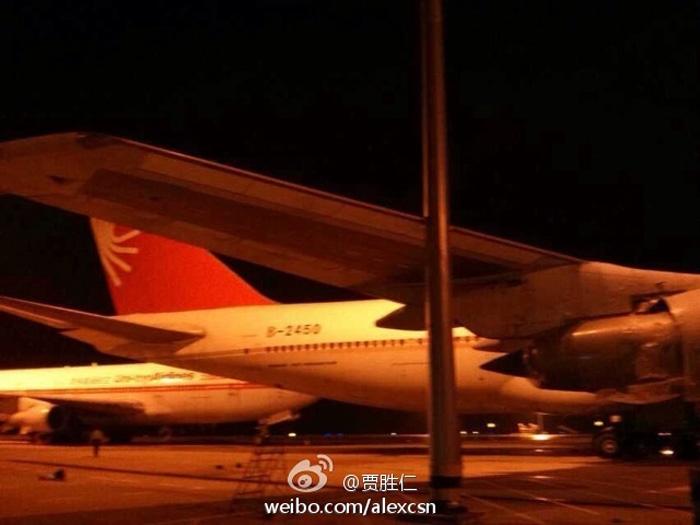狂风肆虐武汉机场 3架飞机受损屋顶被掀 图