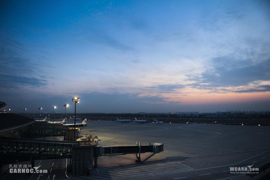 傍晚的青岛机场(武涛摄)