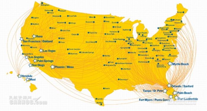 民航资源网 民航专业文章    公司的航线网络涵盖美国各地86座小城市
