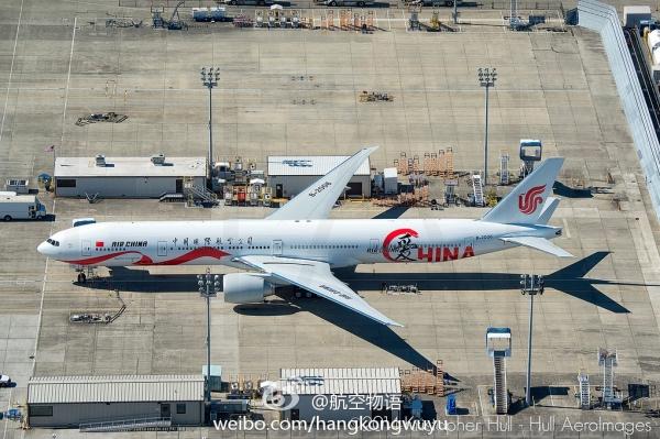 这架飞机是国航订购的20架波音777-300ER型飞机中的最后一架,编号为B-2006。飞机将于今年9月底交付。 (摄影:Kristopher Hull)