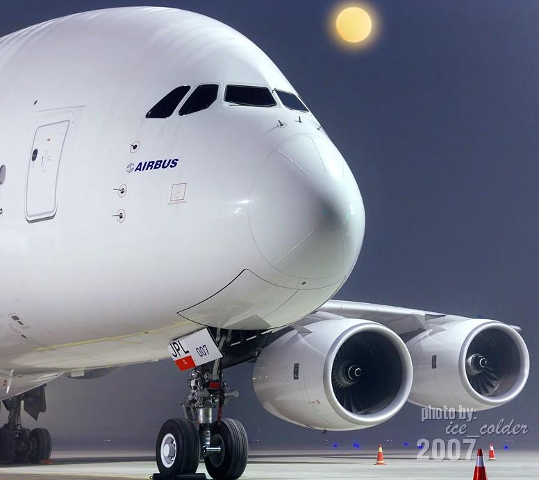 [原创]昨天晚上9点才去,看看农历15夜晚的A380静静的停留在北京的样子。 A380 F-WWJB 中国北京首都机场