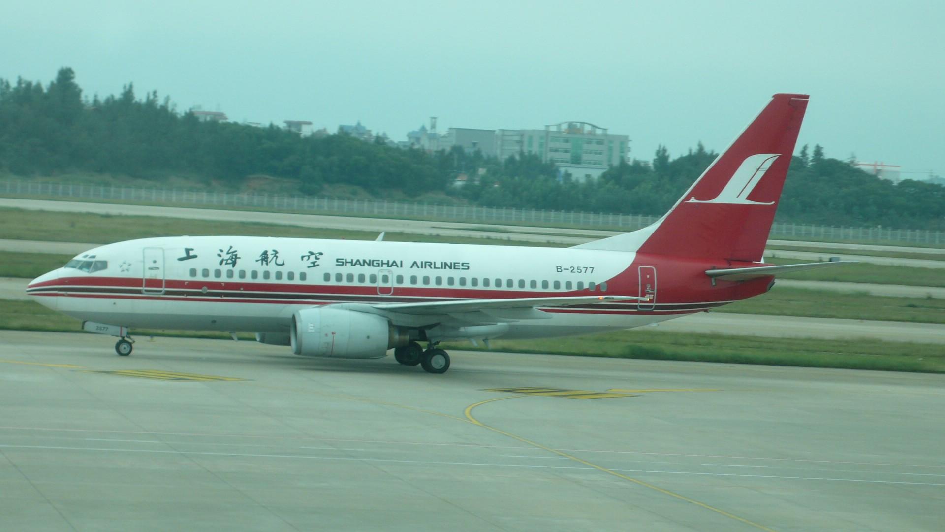 上海航空旅游网_BOEING 737-300 浦东机场 上航飞机,美丽的风景
