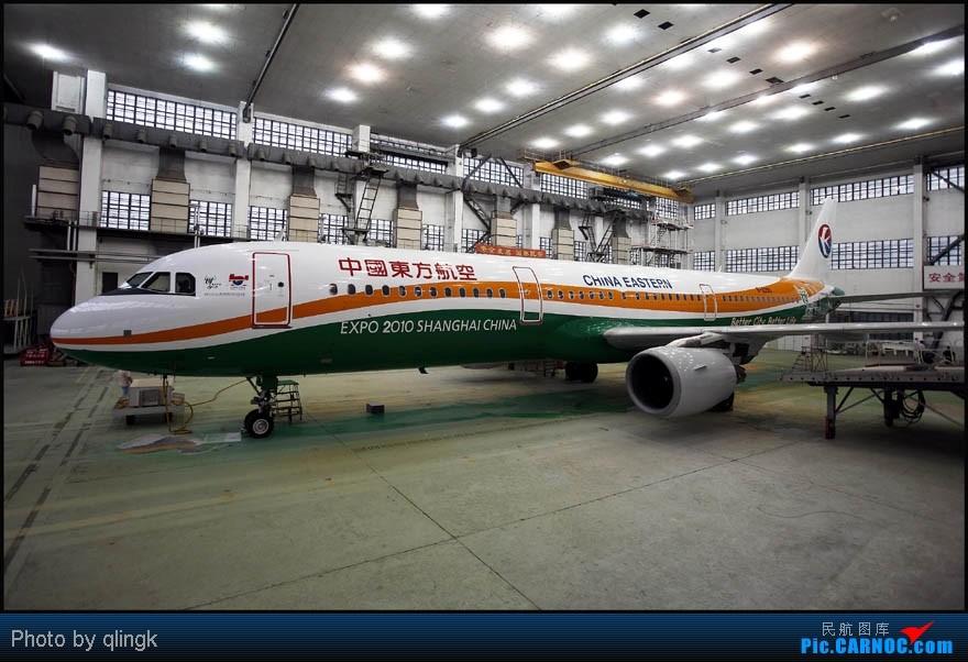 [原创]东航第二架世博号,抢先亮相,快看,还没出机库 A321-200 B-2290 上海虹桥机场