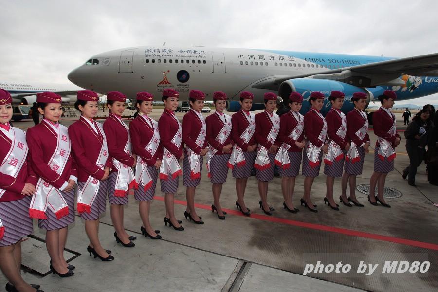 """Re:[原创]南航""""亚运号""""正式亮相 AIRBUS A330-200 B-6057 中国广州白云机场  空乘"""