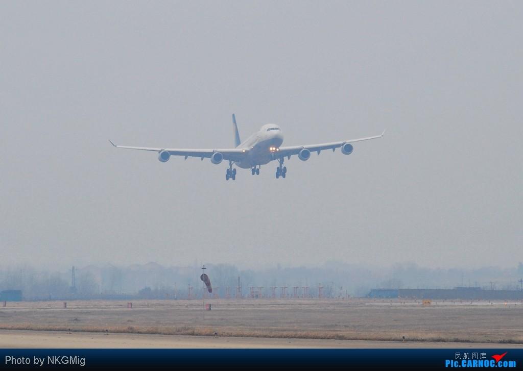 """[原创]【NKG】第一次拍A340就收到""""大礼""""!和大家一起分享汉莎的惊险降落! AIRBUS A340-300 D-AIFD 中国南京禄口机场"""