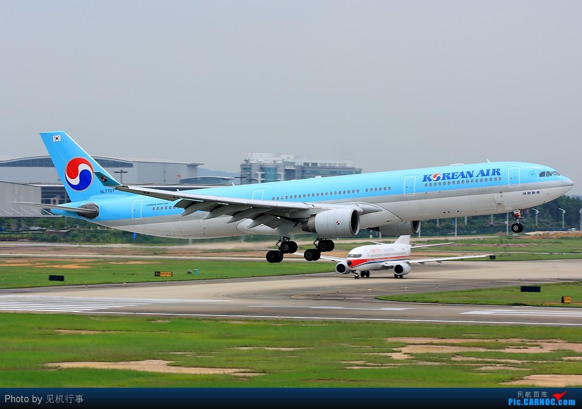 [原创]【深圳飞友会】用四张图片记录大韩航空A333从降落到擦烟全过程。 AIRBUS A330-300 HL7701 中国广州白云机场