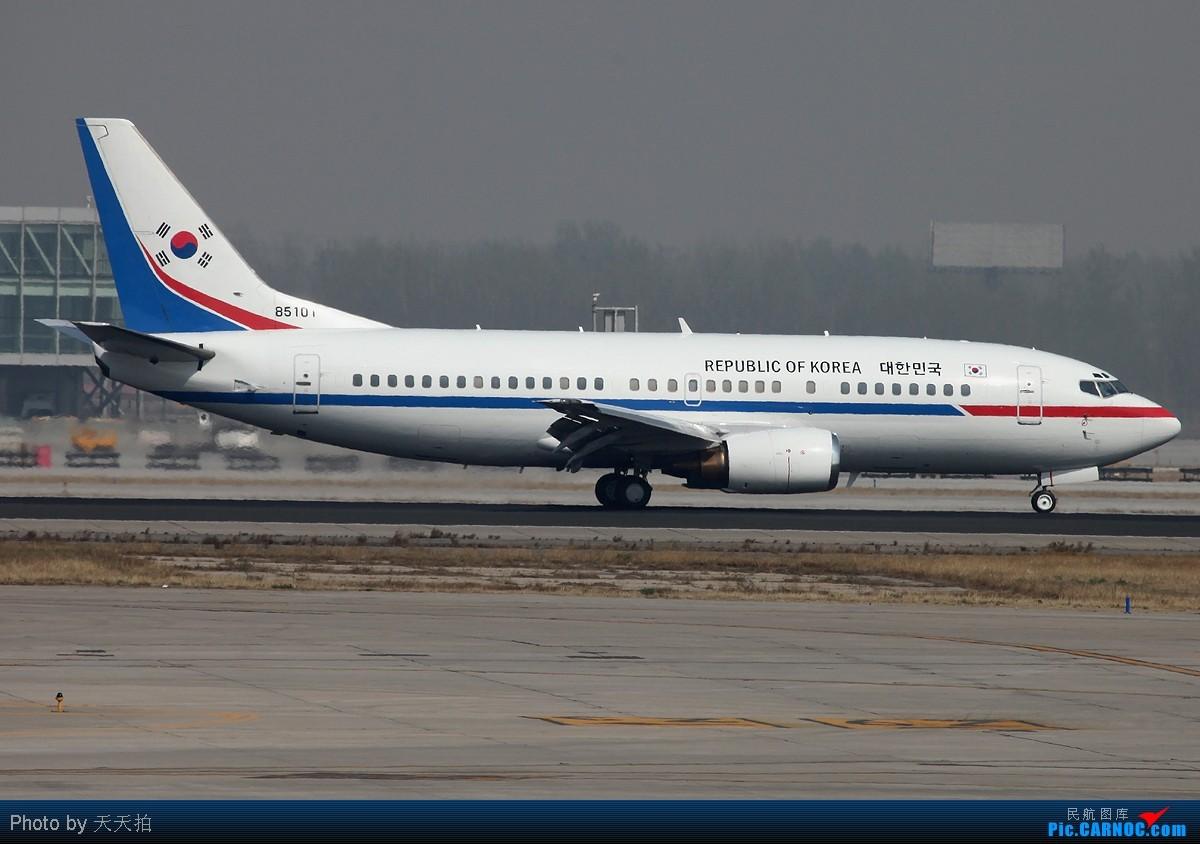 Re:[原创]西班牙总统座驾韩国空军737落地后机窗外飘扬着中韩国旗 BOEING 737-300 85101 中国北京首都机场