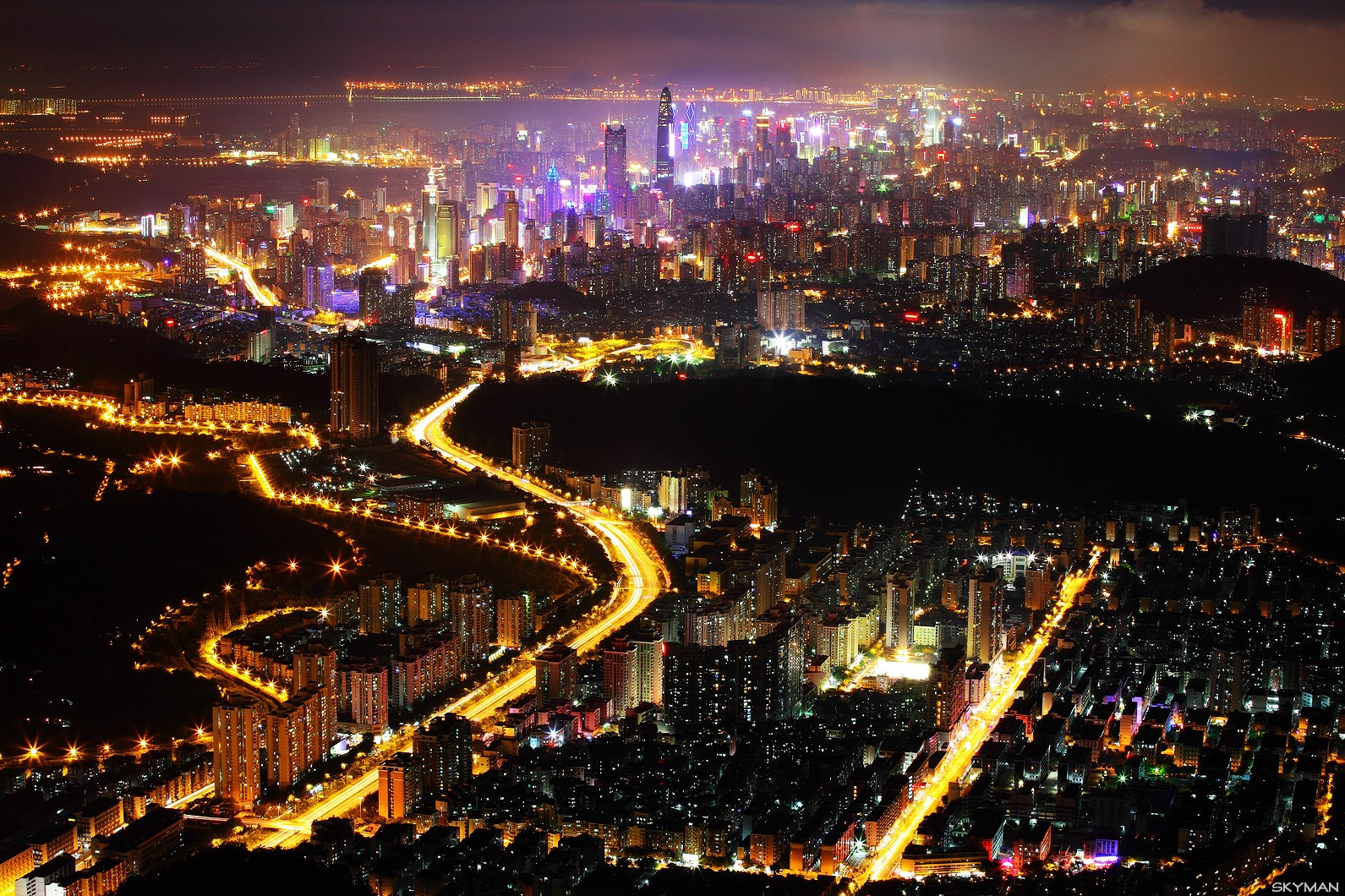 [原创]----夜  色  鸟瞰鹏城----