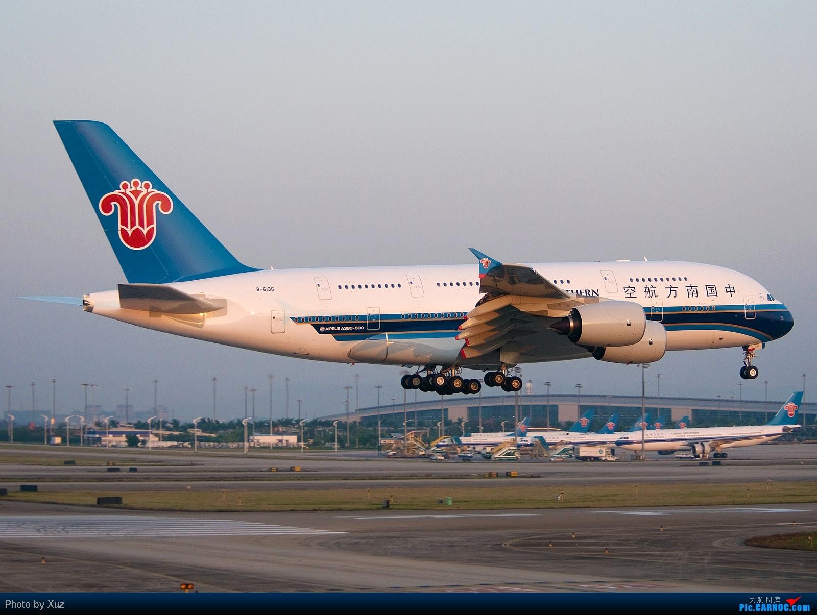 [原创]A380在晨曦中飞本场,就一张图1600 AIRBUS A380 B-6136 中国广州白云机场