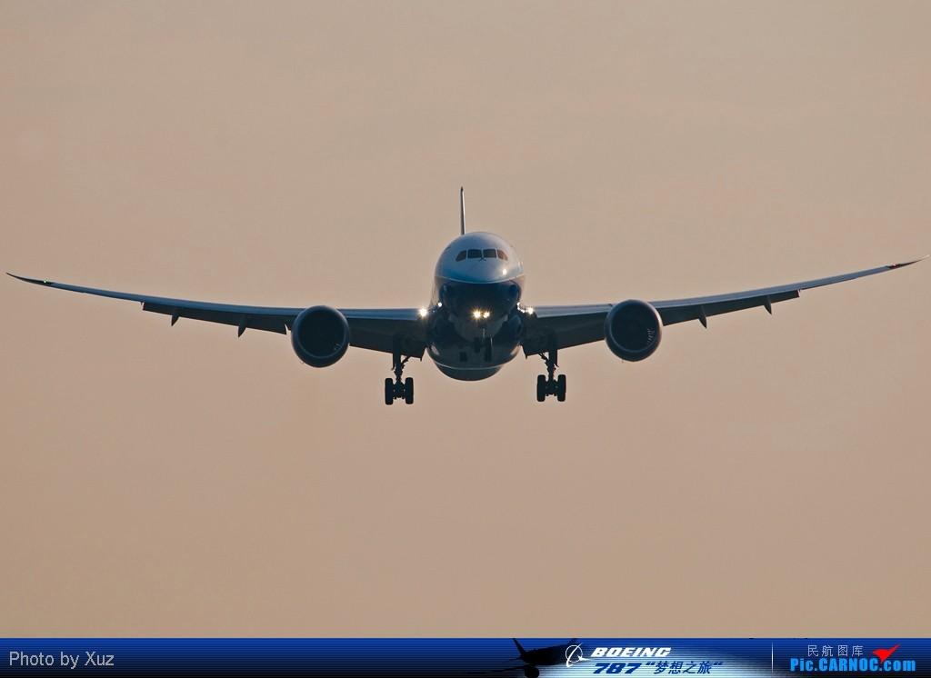 [原创][787梦想之旅·广州站]站在02L跑道头迎接787,过顶声音非常小 BOEING 787 N787BX 中国广州白云机场