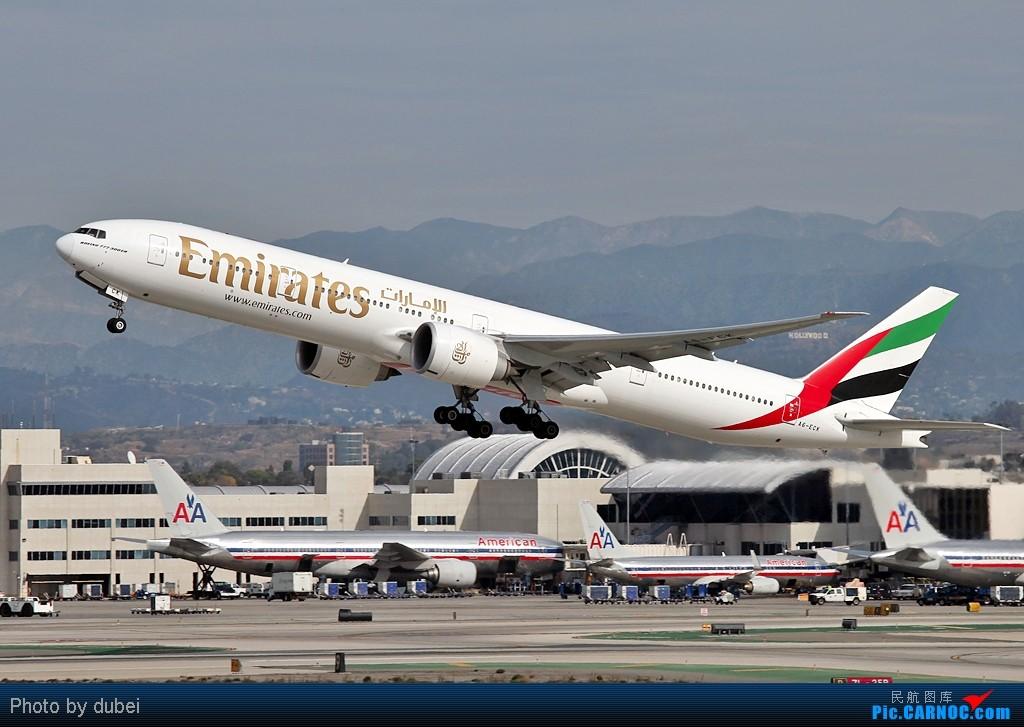 [原创]好久没发图了,发两张上来看看 - 美国之旅 BOEING 777-300 A6-ECM 美国洛杉矶机场