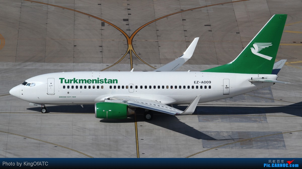 [原创]**好天气**土库曼的小翠鸟 BOEING 737-700 EZ-A009 中国北京首都机场