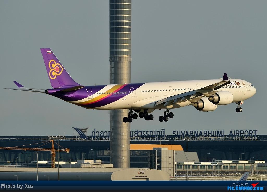 Re:[原创]漂亮的飞机MM在华丽的曼谷机场翩翩起舞 AIRBUS A340-600 HS-TNC 泰国曼谷(素万那普)机场