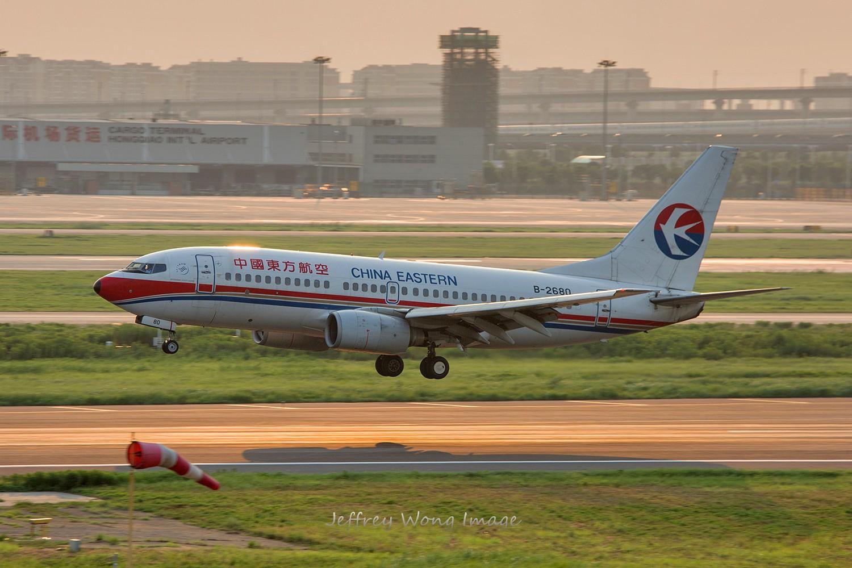 [5566拍机]虹桥夕阳印象~ boeing 737-700 b-2680 中国上海虹桥机场