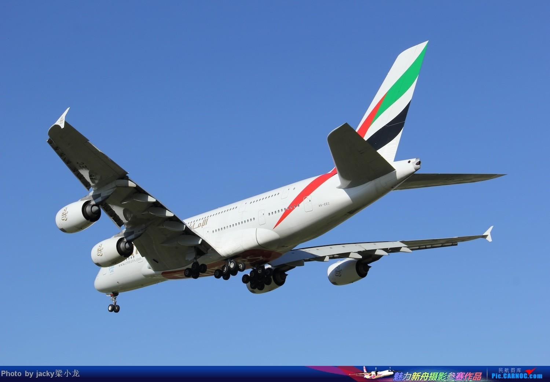 迪拜阿联酋航空A380--降落北京01跑道 AIRBUS A380 A6-EEC 中国北京首都机场