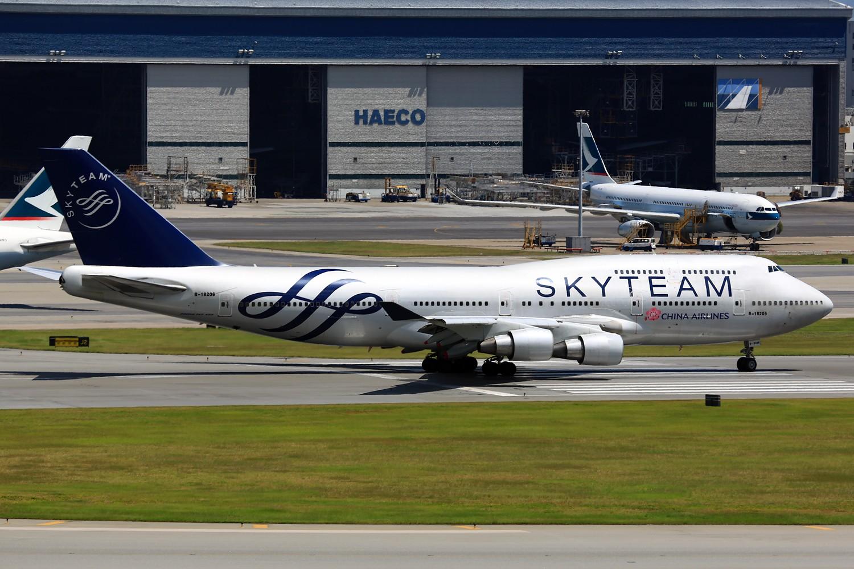 [原创]【HKG/VHHH】**********沙螺湾神仙位冷饭:华航大邮戳和美联航大星星[1500*1000]********** BOEING 747-400 B-18206 中国香港赤鱲角国际机场