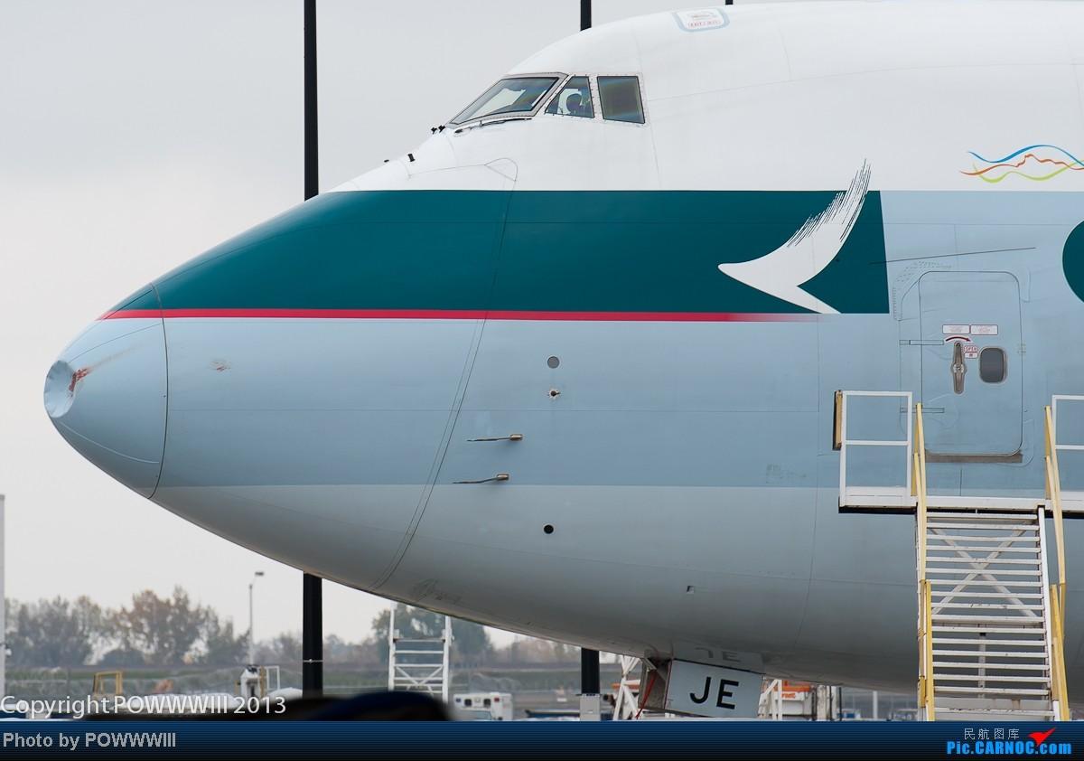 [原创]鱼翅航空的新748F,B-LJE昨天执飞ANC-ORD,惨遭大鸟(估计是加拿大野鹅)强吻,鼻梁塌陷,要整容了。 BOEING 747-800F B-LJE 美国芝加哥机场