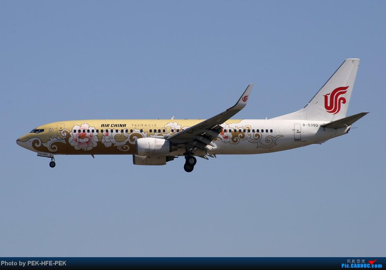 Re:[原创][AutumnKwok]秋高气爽,PEK拍机(西班牙 总 理 专。机,EVA新涂装77W,英航寰宇,蒙古763小姨。。。) BOEING 737-800 B-5390