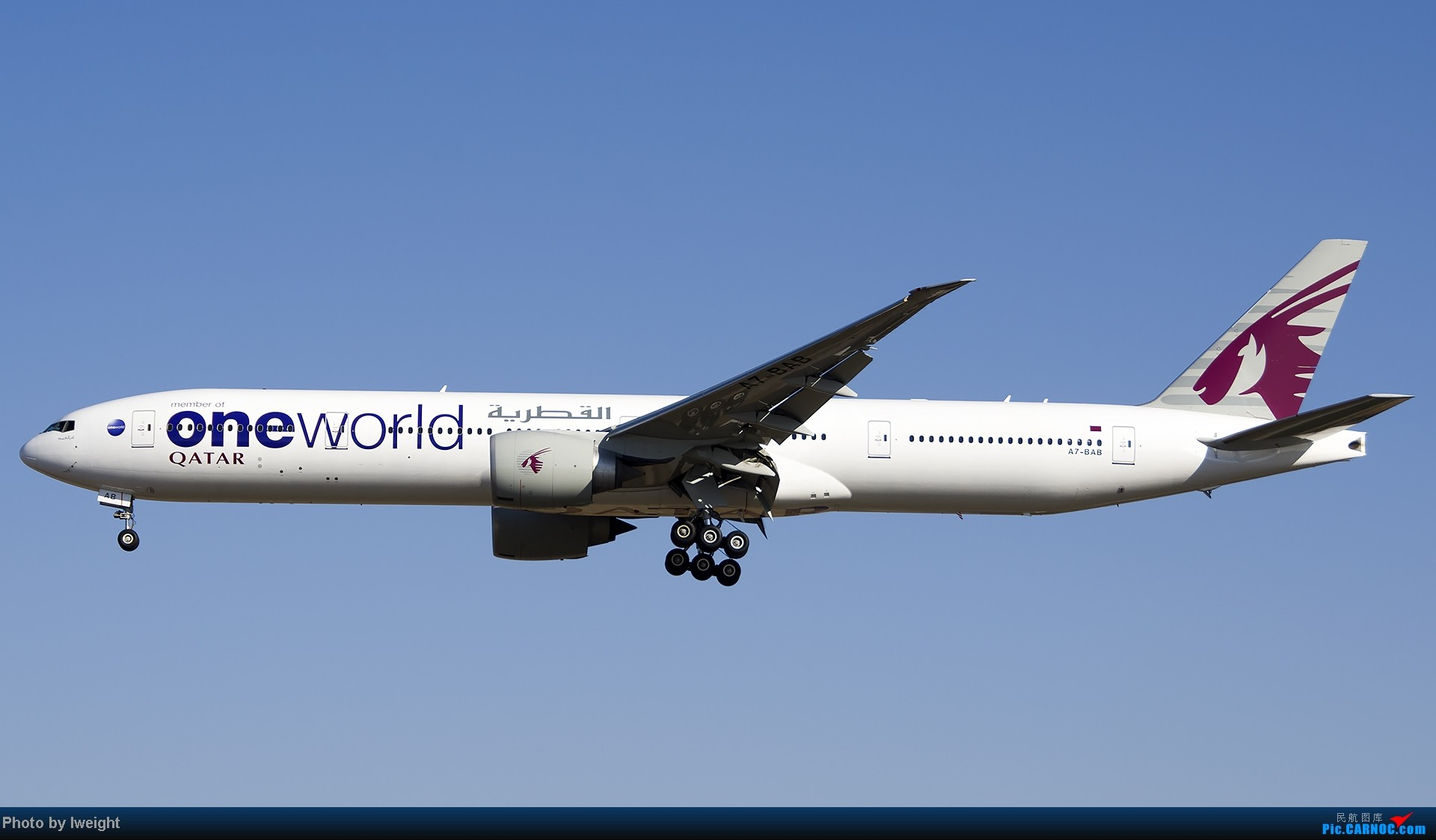 Re:[原创]抓住APEC蓝的尾巴,再拍上一组 BOEING 777-300ER A7-BAB 中国北京首都机场