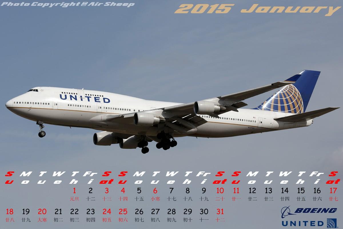 [原创]壁纸日历两张,勿喷~:P BOEING 747-400 N127UA 中国北京首都国际机场