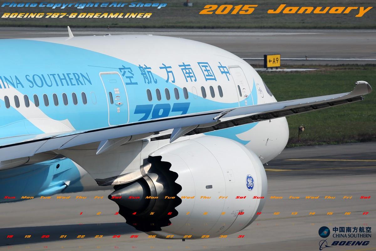 [原创]奉上利用拍摄的少许中国南方航空波音系列飞机制成2015年1-12月月历壁纸。勿喷!:P BOEING 787-8 B-2727 中国广州白云国际机场
