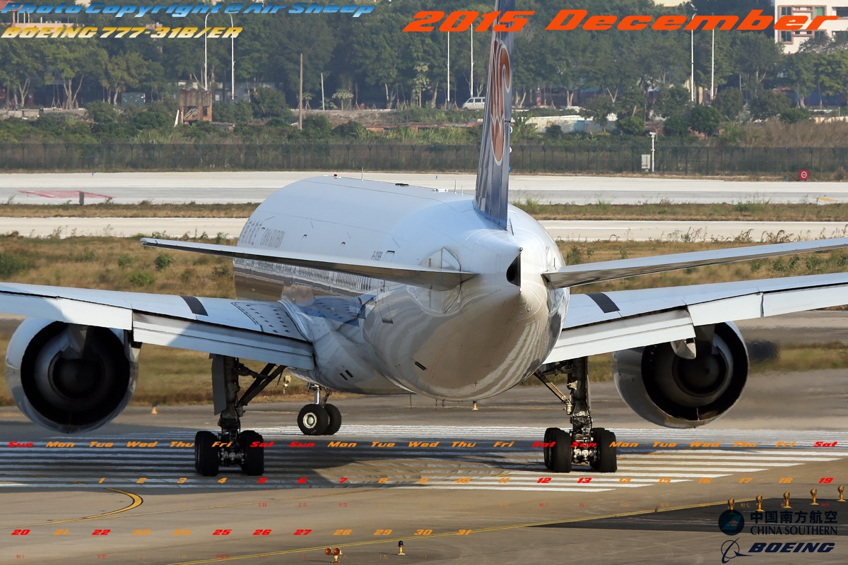 Re:[原创]奉上利用拍摄的少许中国南方航空波音系列飞机制成2015年1-12月月历壁纸。勿喷!:P BOEING 777-300ER B-2099 中国广州白云国际机场