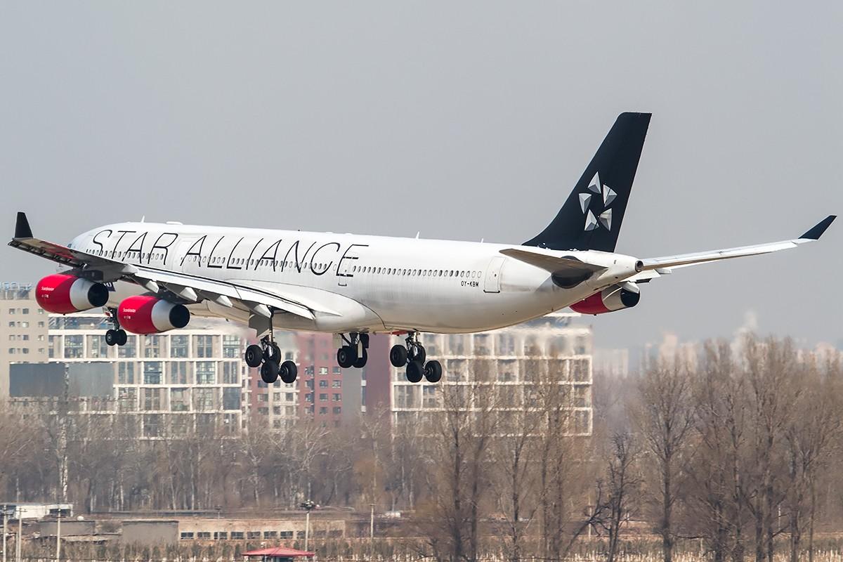 **一图党**北欧星盟来中国一次太太太太太太太不容易了~~ AIRBUS A340-300 OY-KBM 中国北京首都国际机场