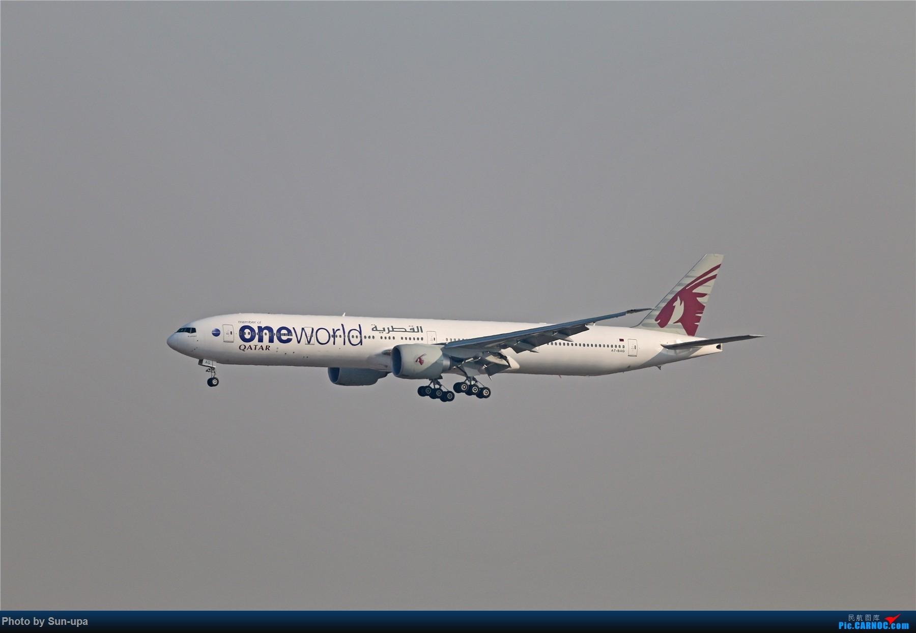 [原创]一张图 卡塔尔航空寰宇机77w降落01 BOEING 777-300ER A7-BAG 中国北京首都国际机场