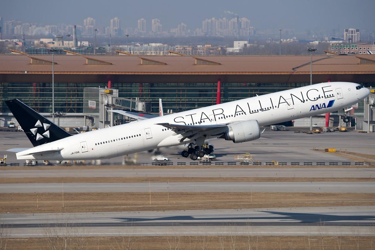 [原创]一图党 第一次拍到全日空773星星 BOEING 777-300 JA731A 中国北京首都国际机场