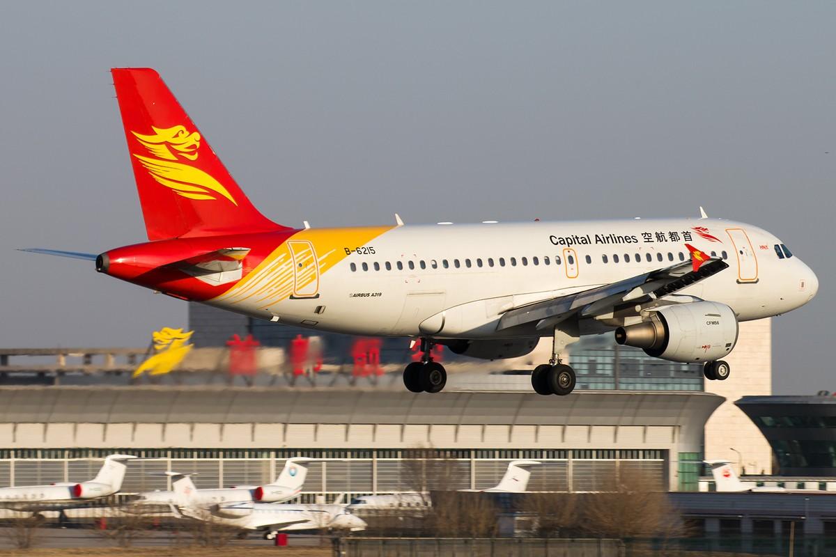 Re:[原创]土堆越来越低了,树却越来越高了,擦烟位没了,就剩下两个树间的空隙可以拍了... AIRBUS A319-100 B-6215 中国北京首都国际机场