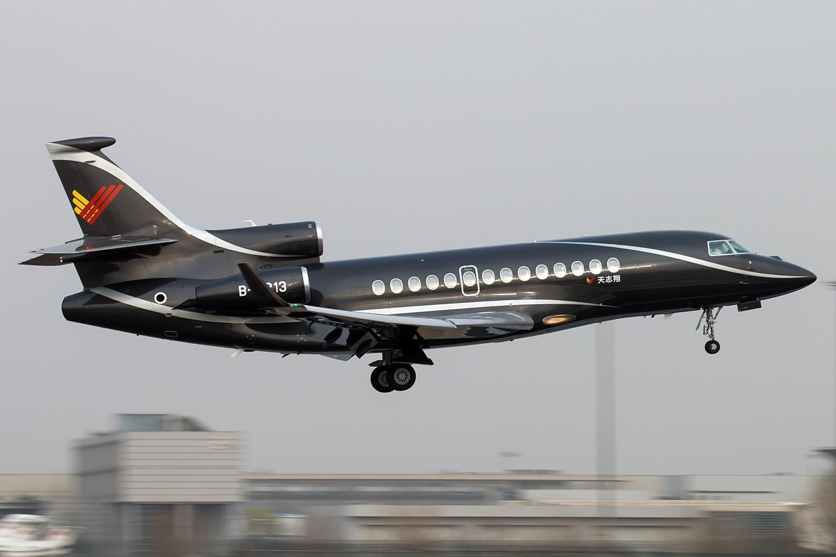[原创][一图党] 天志翔 黑又亮 DASSAULT FALCON 7X B-8213 中国北京首都国际机场