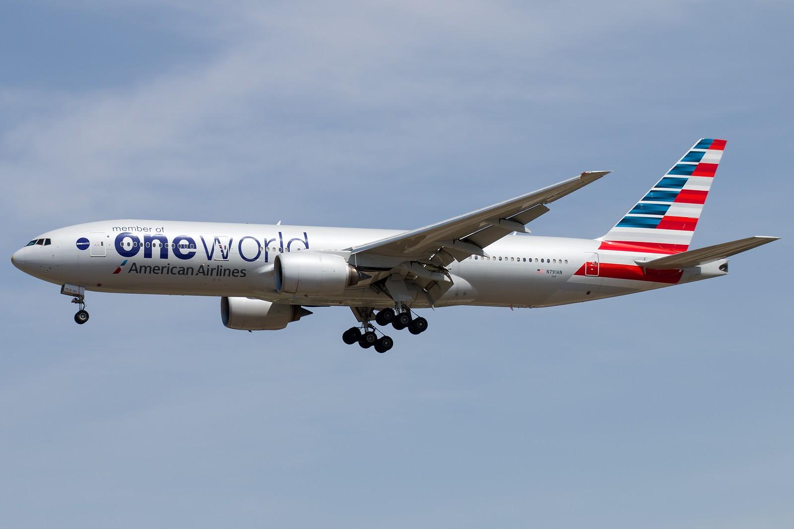 [原创][一图党]美国航空 N791AN B777-200ER oneworld涂装 BOEING 777-200ER N791AN 中国北京首都国际机场