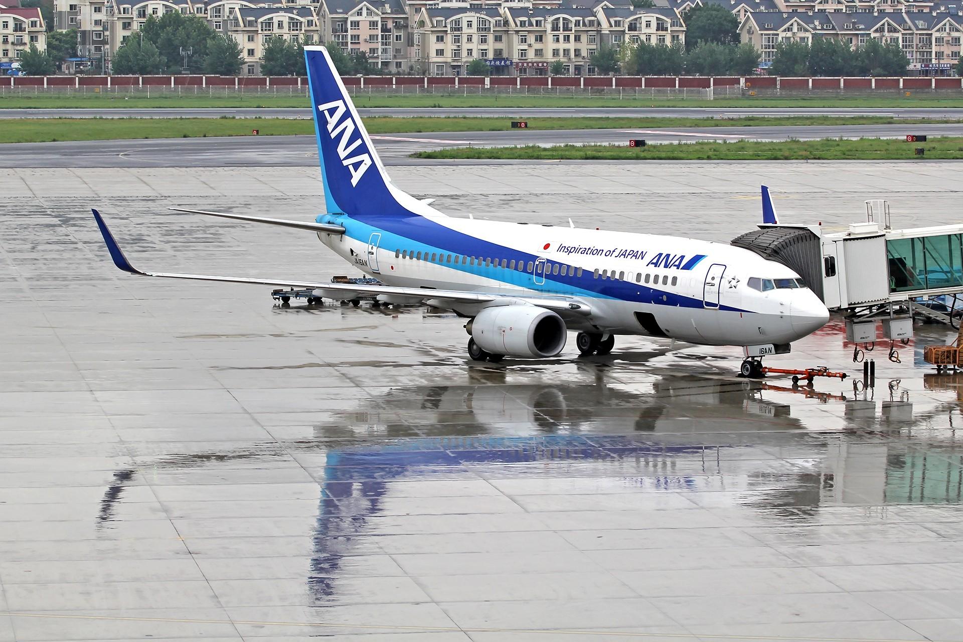 [原创][DLC]。。。雨天试镜,图渣。。。 BOEING 737-700 JA16AN 中国大连周水子国际机场