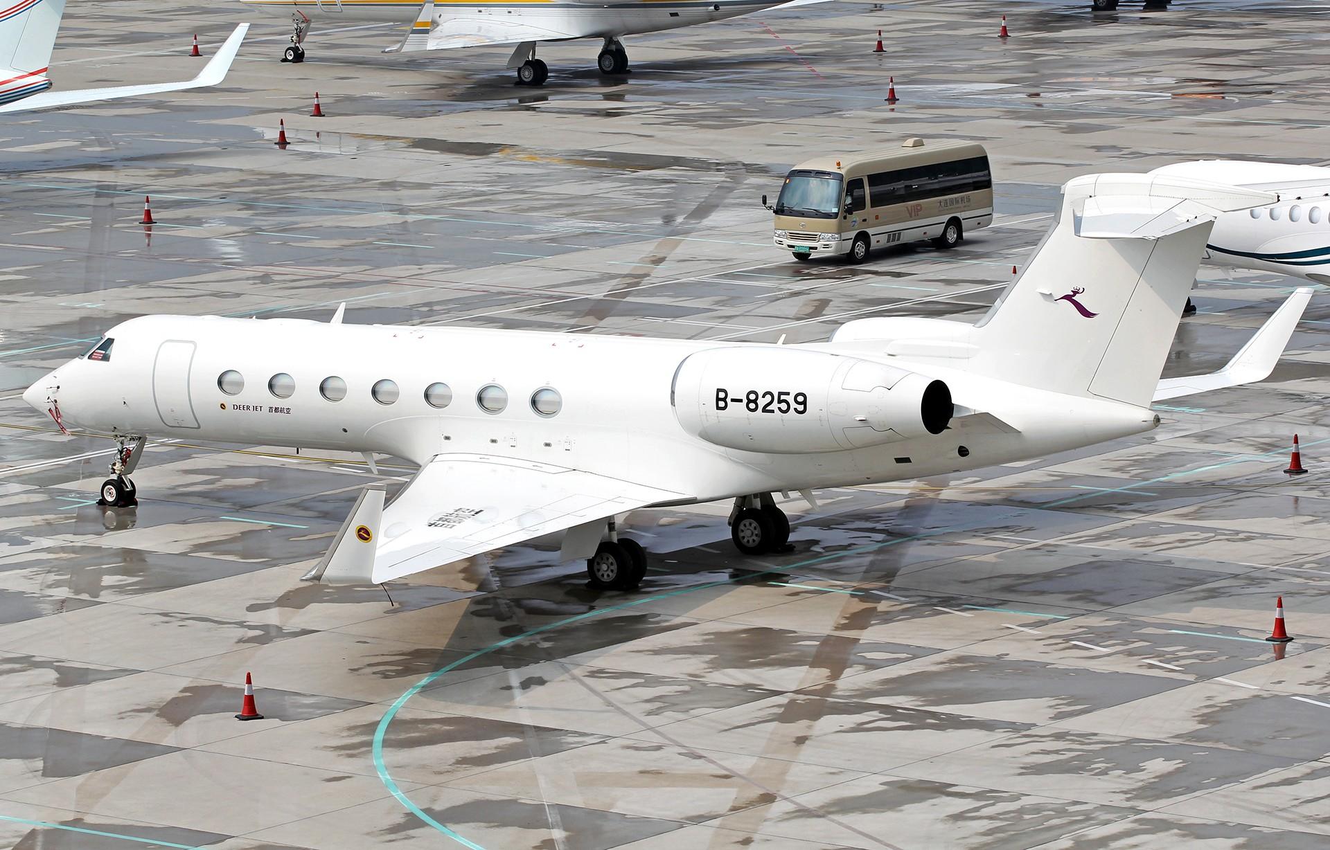 [原创][DLC]。。。达沃斯公务机。。。 GULFSTREAM G550 B-8259 中国大连国际机场
