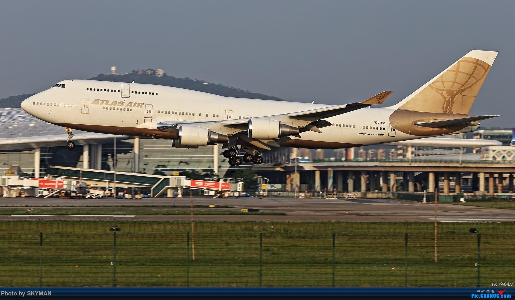 [原创]BLDDQ 关键词:深圳机场 亚特拉斯航空包机 NBA中国 747-400 BOEING 747-400 N322SG 中国深圳宝安国际机场