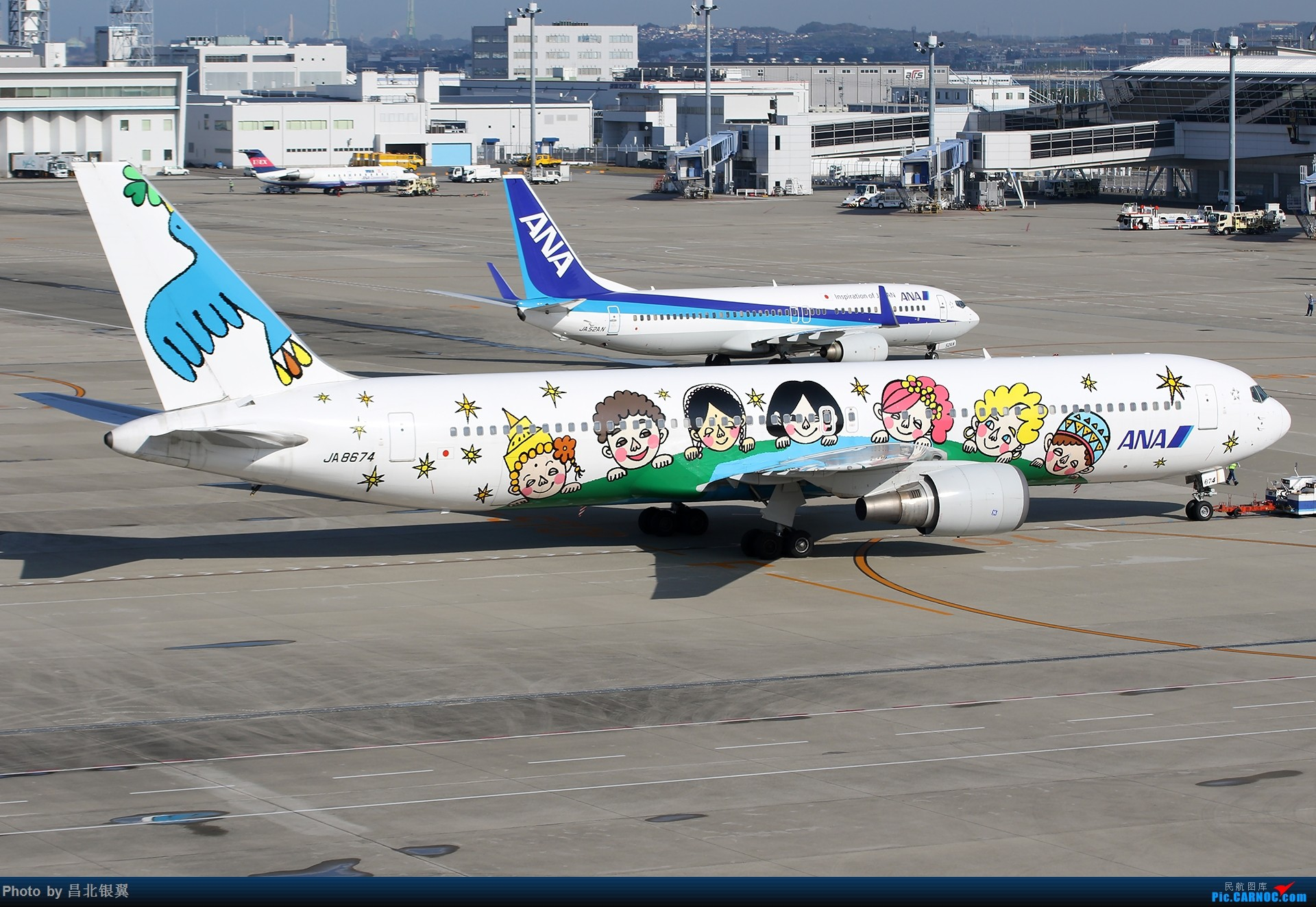 [原创]【1920*1280】全日空 60周年纪念彩绘-梦之翼 B767-300 JA8674 BOEING 767-300 JA8674 日本名古屋中部/新特丽亚机场