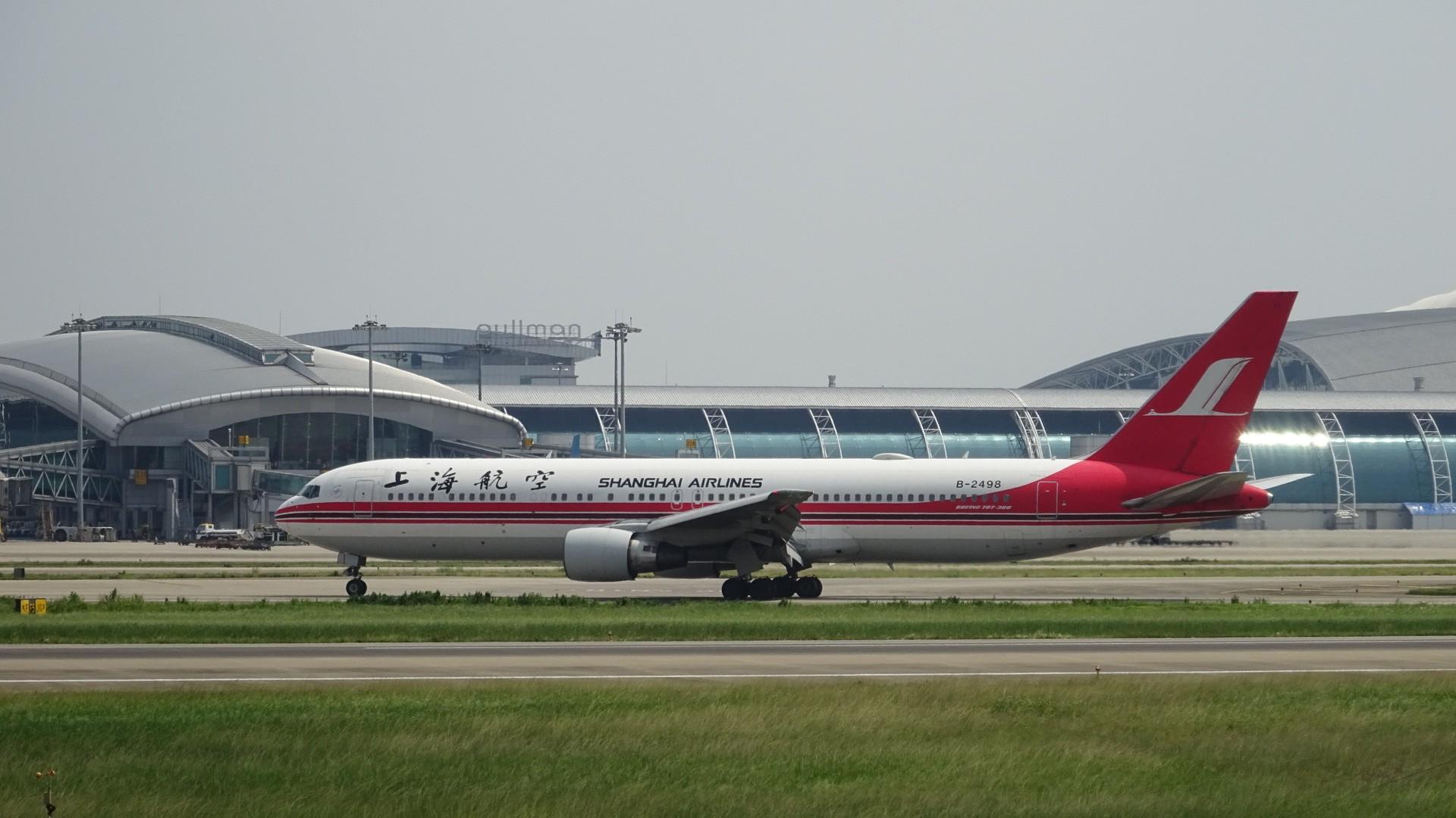 [原创]shanghai air boeing 767-300 guangzhou airport BOEING 767-300 B-2498 中国广州白云国际机场