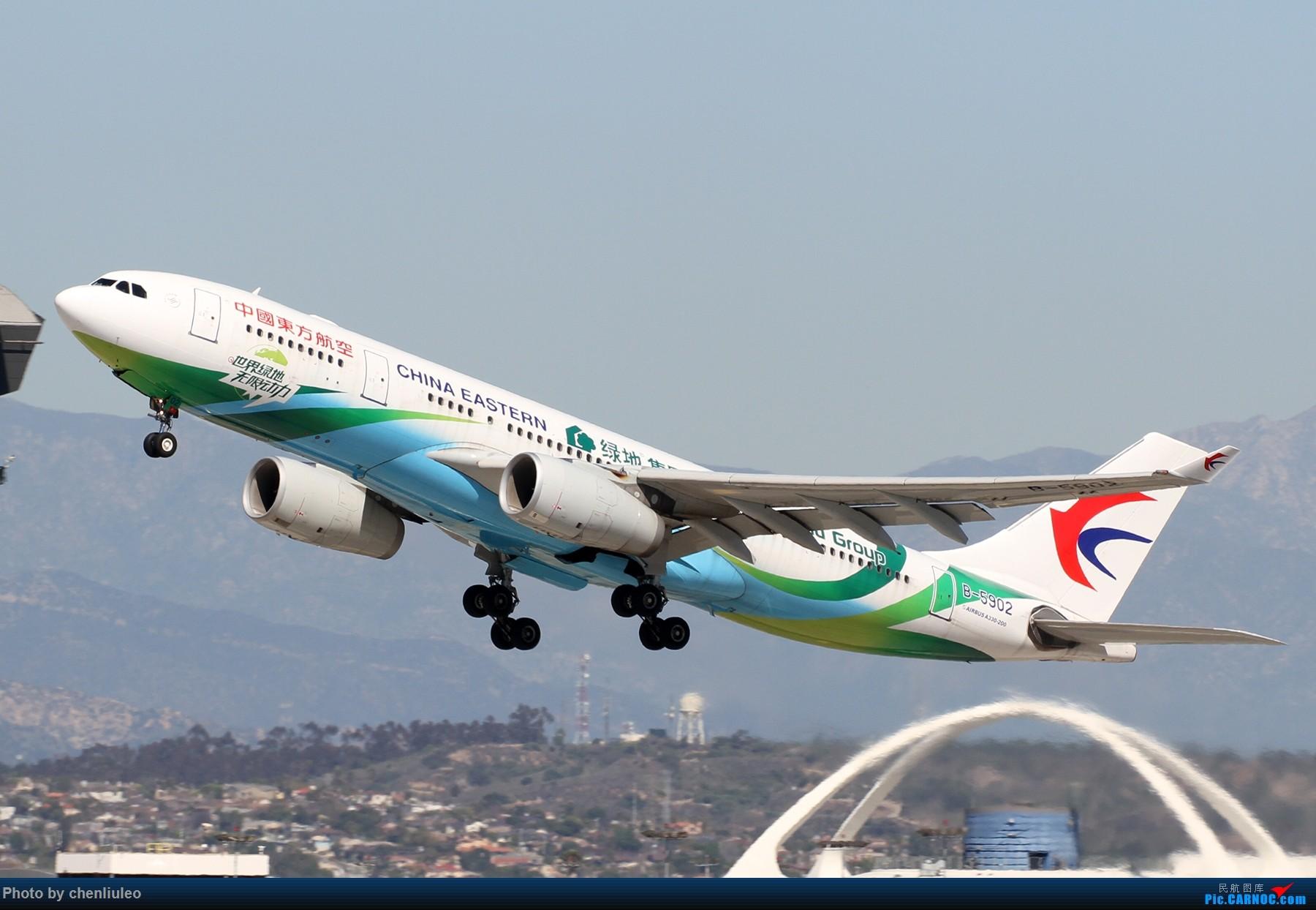 [原创]【北美飞友会】LAX带地景起飞一组 AIRBUS A330-200 B-5902 美国洛杉矶机场