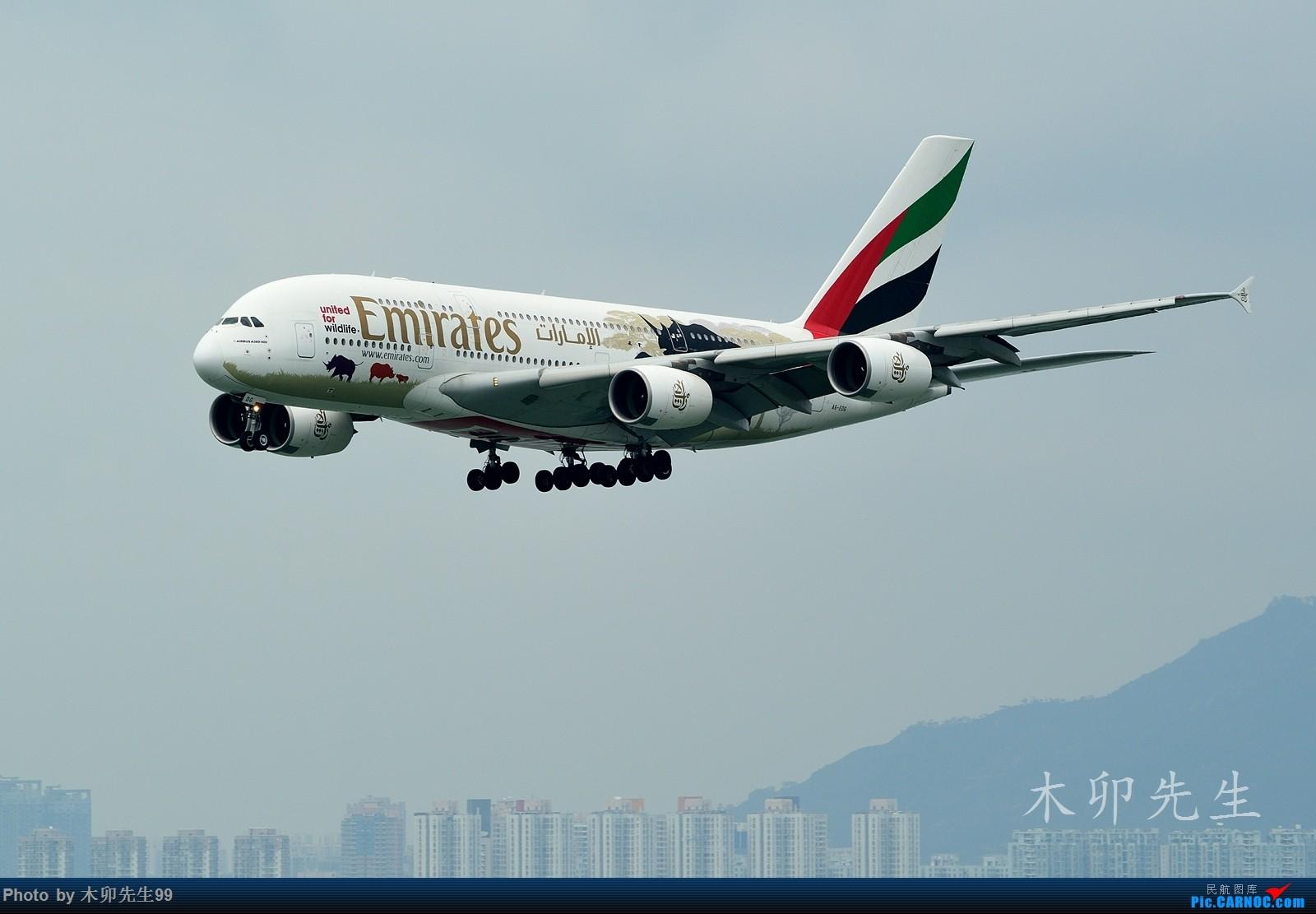 [原创]【木卯先生99】—【世界最大A380彩绘机之一犀牛——阿聯酋航空】—2016—006 AIRBUS A380 A6-EDG 香港赤鱲角国际机场