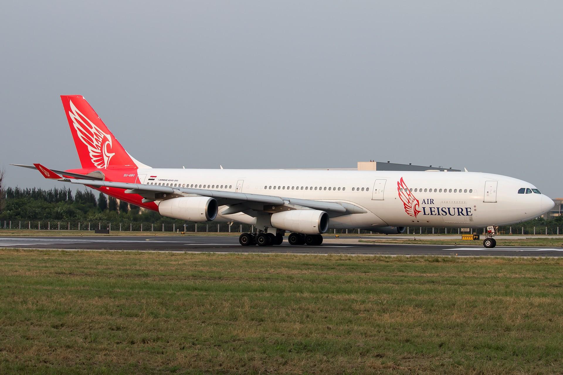 [原创][一图党] 埃及休闲航空 SU-GBO A340-200 1920*1280 AIRBUS A340-200 SU-GBO 中国北京首都国际机场