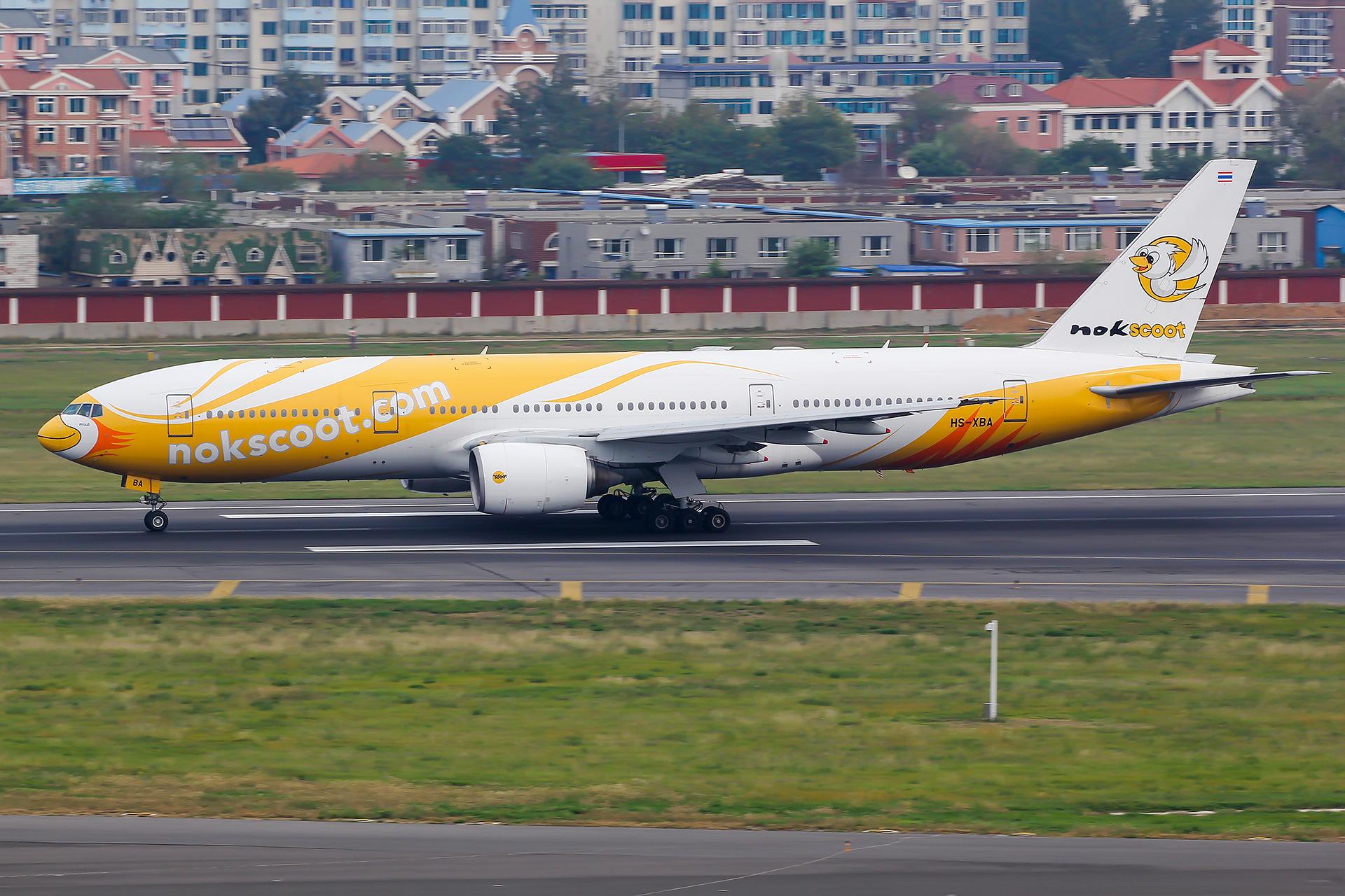 [原创][DLC]。。。酷鸟首航,落地反推未开,跑道口脱离。。。 BOEING 777-200ER HS-XBA 中国大连国际机场