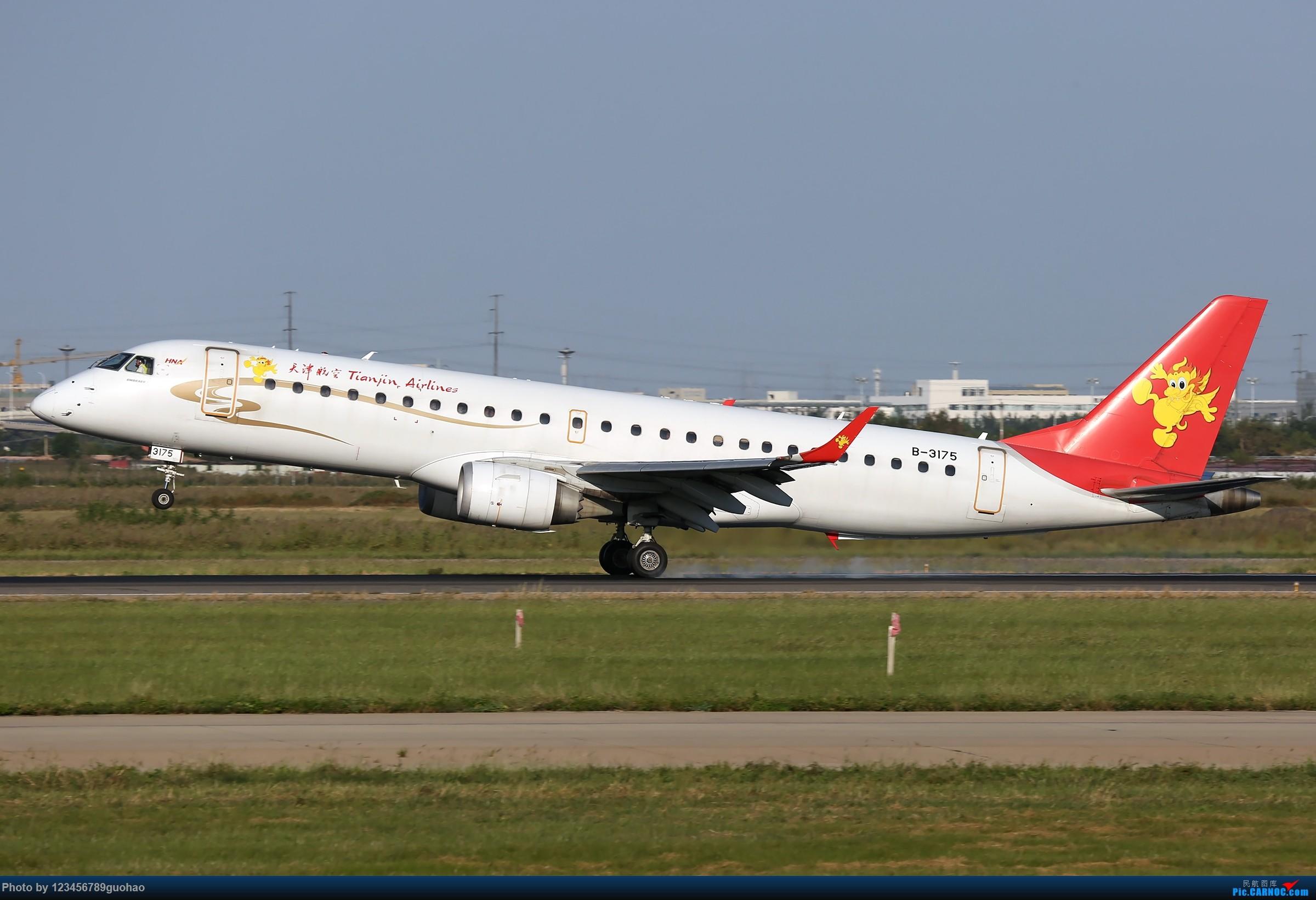 Re:[原创]TSN多图-后脚着地 EMBRAER E-190 B-3175 天津滨海国际机场