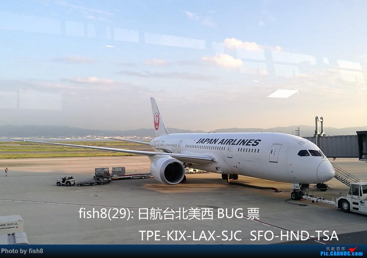 [原创]【长春飞友会】fish8(29):日航台北美西BUG票 TPE-KIX-LAX-SJC SFO-HND-TSA BOEING 787-700 JA831J 日本关西机场