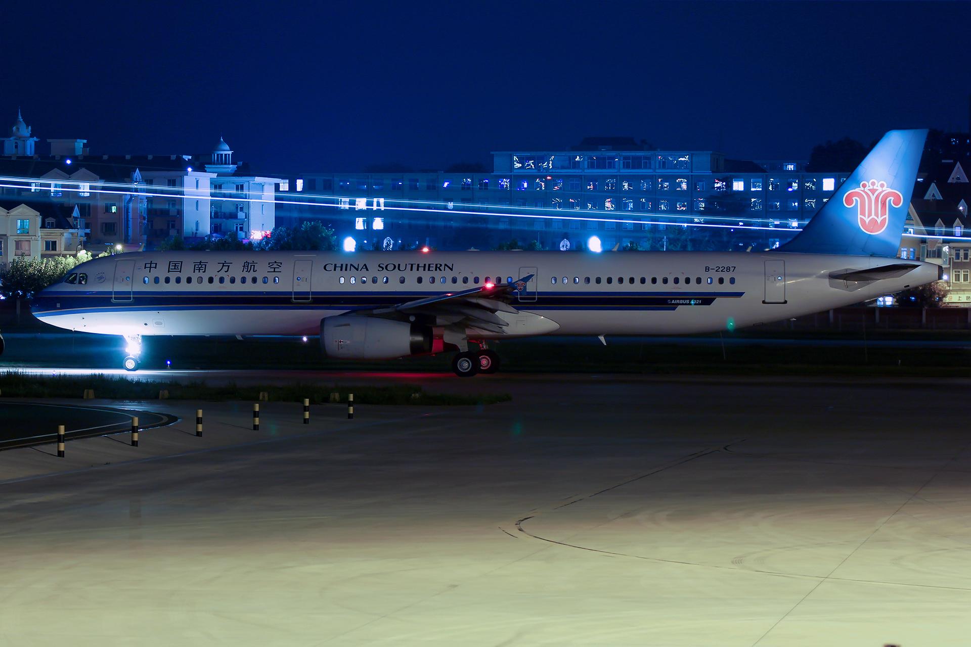 Re:[原创][DLC]。。。夜景两张 。。。 AIRBUS A321-200 B-2287 中国大连国际机场