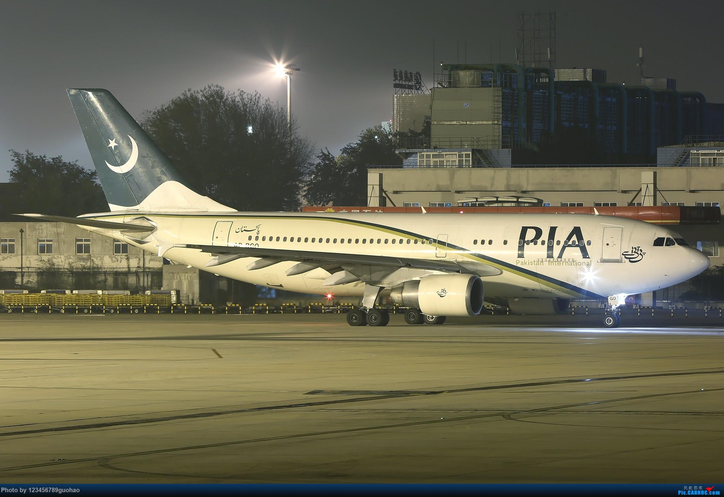 一图党-黑夜中的啪叽斯坦 AIRBUS A310 AP-BGO 北京首都国际机场