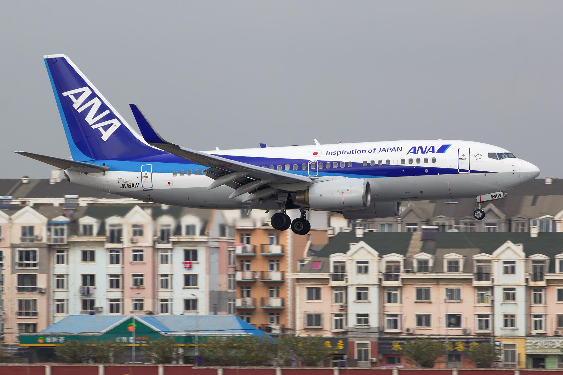 [原创][DLC]。。。皇军来了。。。 BOEING 737-700 JA18AN 中国大连国际机场