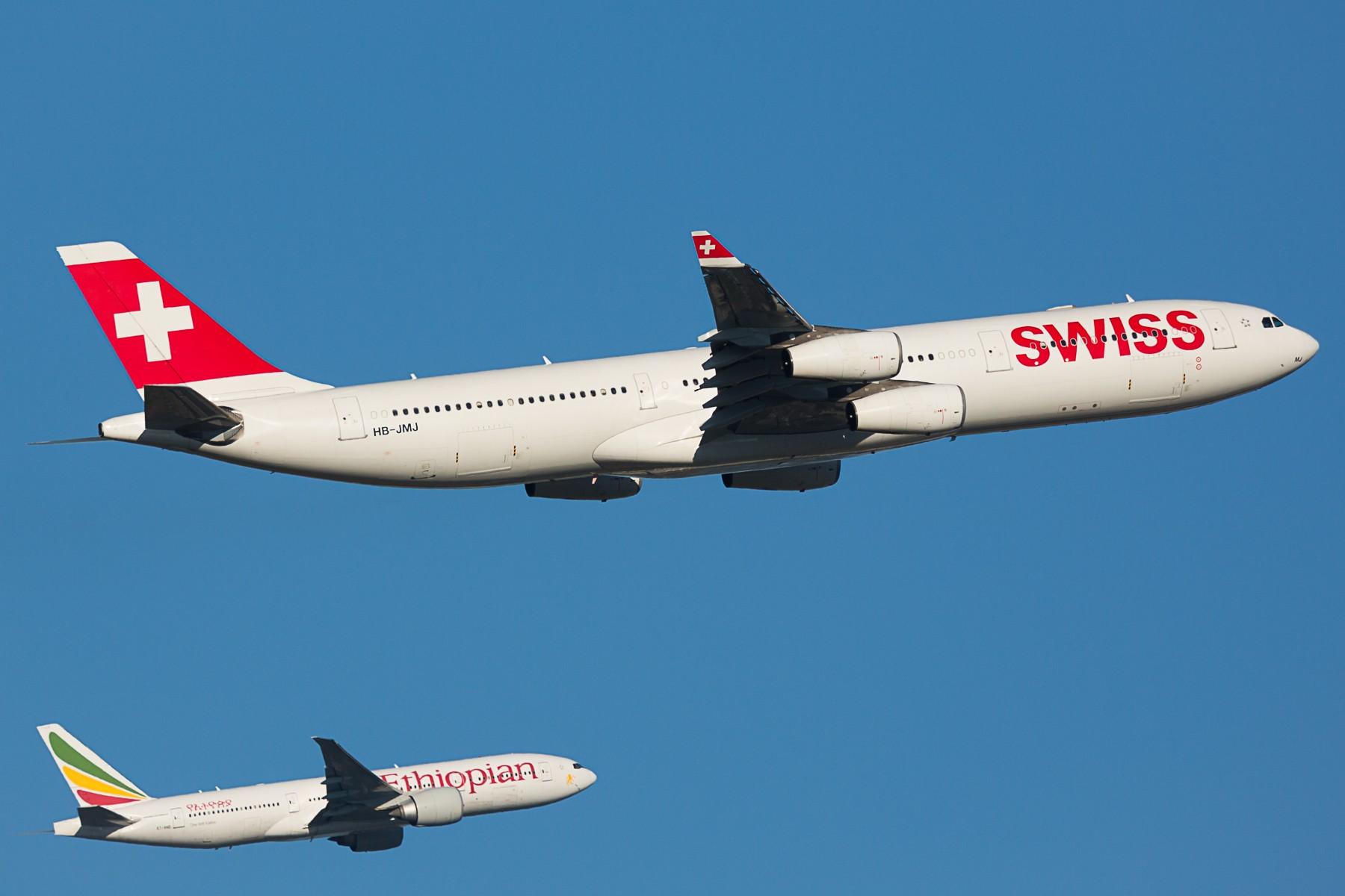 【PEK】准点的瑞士航空A343---晚点的埃塞俄比亚77B 双飞 AIRBUS A340-300 HB-JMJ 中国北京首都国际机场