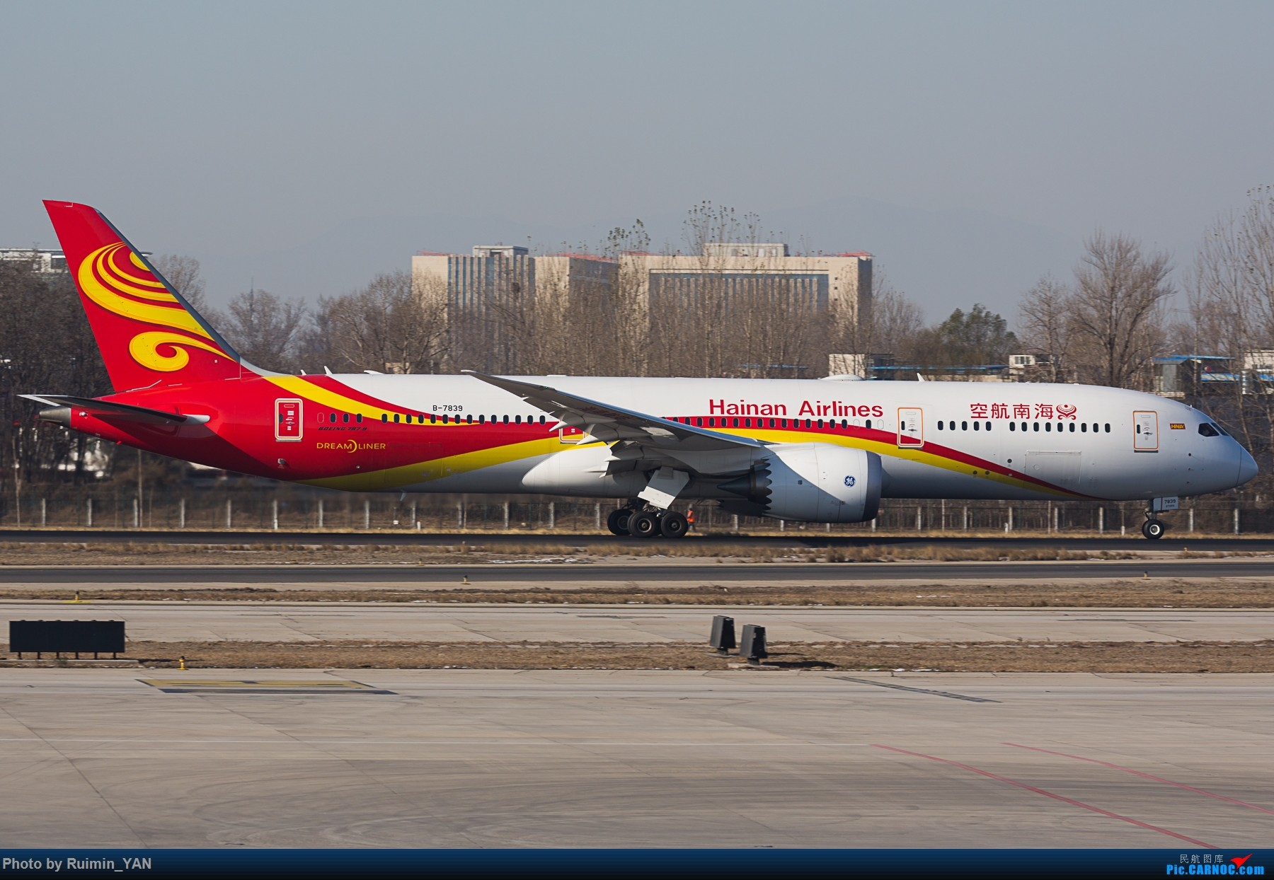 【PEK】36L跑道外附近火灾 海航 Boeing 787-9B-7839 BOEING 787-9 B-7839 中国北京首都国际机场