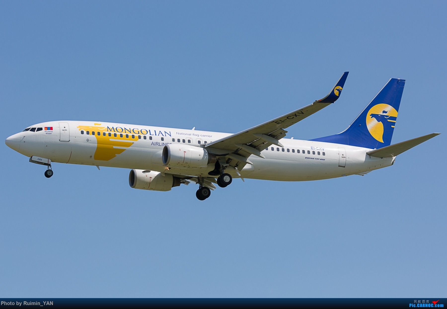 Re:[原创]【PEK】【砖机】蒙古总统查希亚·额勒贝格道尔吉访华 蒙古航空(OM) 738 BOEING 737-800 EI-CXV 中国北京首都国际机场